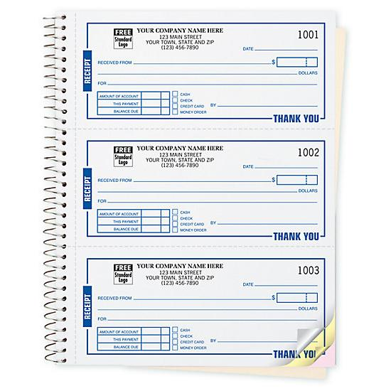 Cash Receipt Book Customized - Custom Carbonless Printing - Cash Recepit