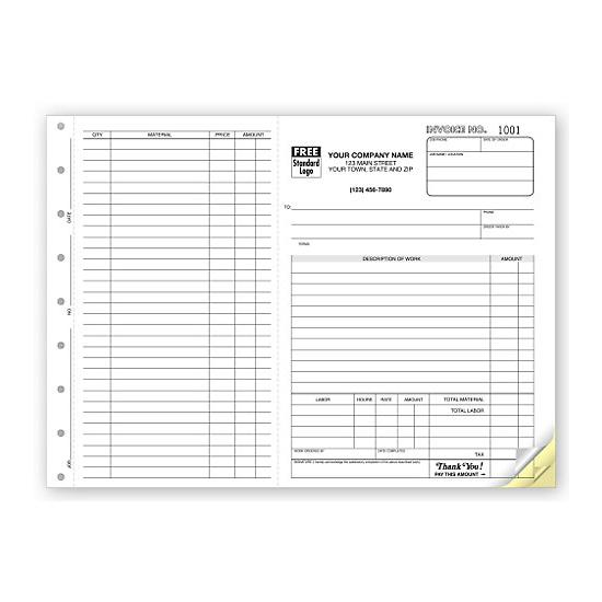 Contractor Invoices - Construction Invoice - Custom Printing