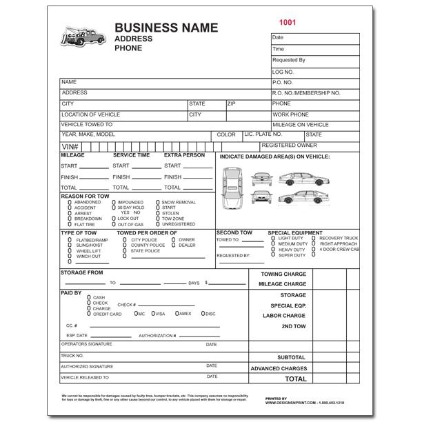 Towing Invoice - Roadside Service Forms DesignsnPrint