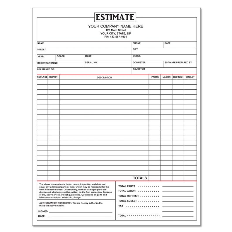 garage estimate template - Roho4senses - automotive repair order template free