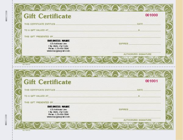 Custom Gift Certificate Books - Stub, Carbon Copy, Snap set - gift certificate with stub