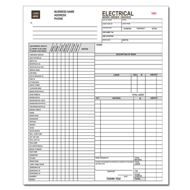 Electrical Contractor Forms - Custom Carbonless Orders DesignsnPrint