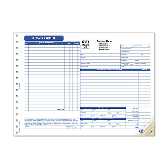 Custom Business Forms, Invoices, Receipts - Continuous Printing - custom business invoices