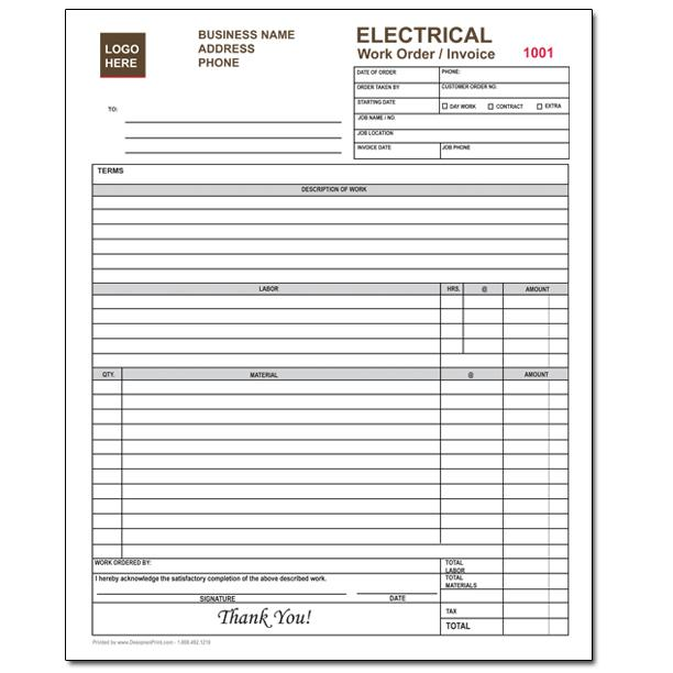 Electrical Company Work Order - Carbonless Invoice Form DesignsnPrint
