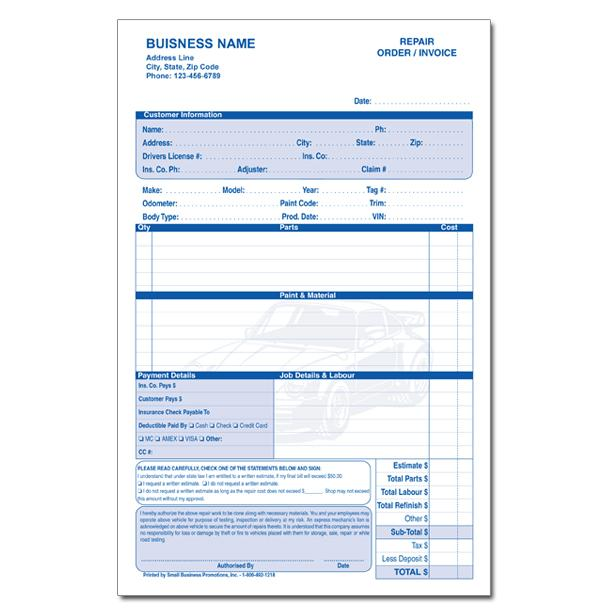 Automotive Repair Invoice - Work Order - Estimates DesignsnPrint
