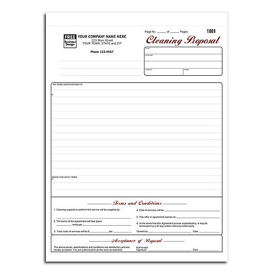 Cleaning Proposal Form - Cleaning Business Proposal DesignsnPrint