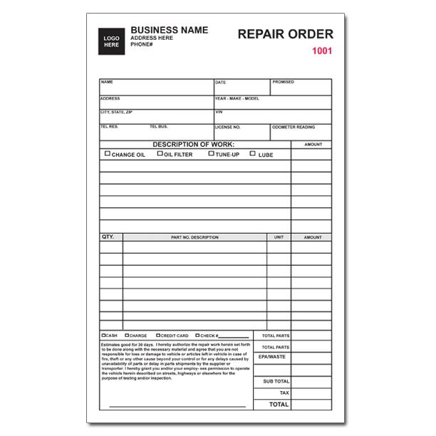 Auto Repair Invoice, Work Orders - Custom Carbonless Printing - repair order form
