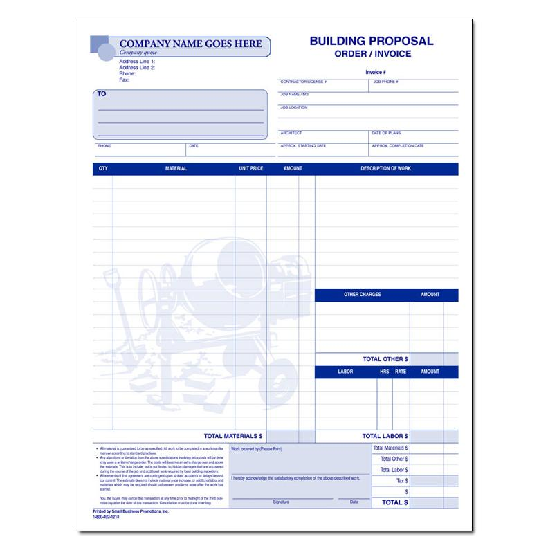 Building Contractor Proposal Form - Construction Forms DesignsnPrint
