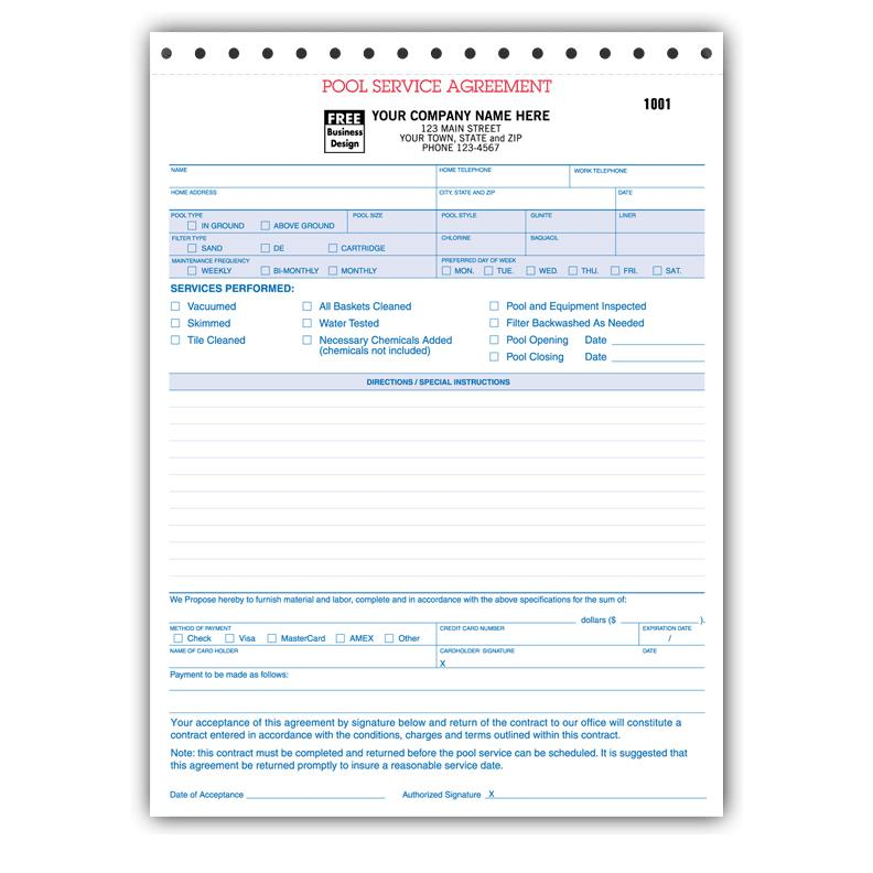 Spa  Pool Business Invoice Forms - Work Order DesignsnPrint
