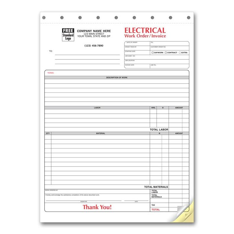 Electrical Contractor Forms - Custom Carbonless Orders DesignsnPrint - electrical contractor invoice template