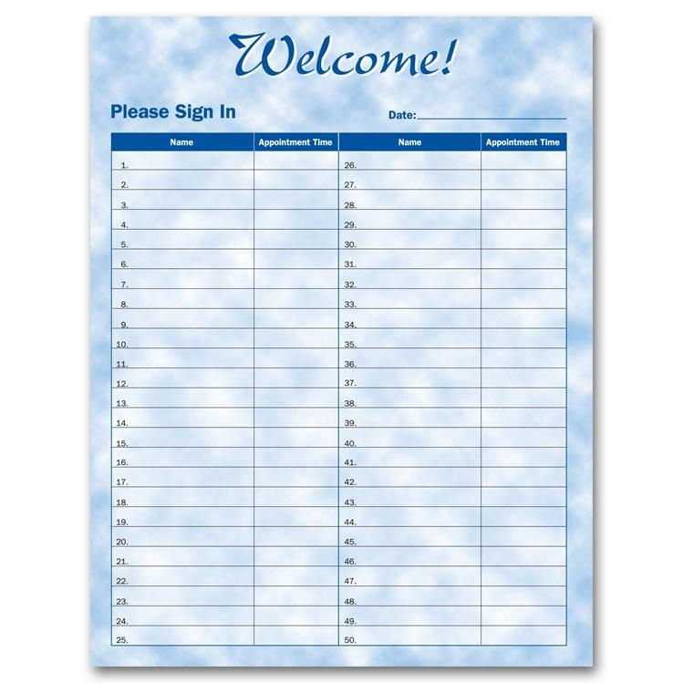 salon sign in sheets