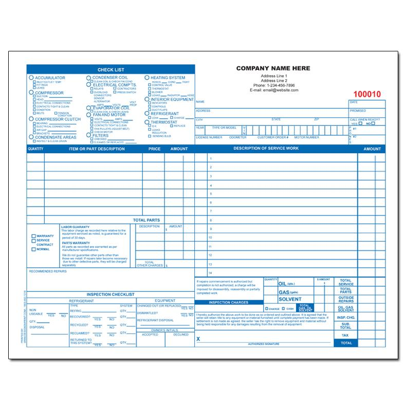 HVAC Contractor Invoice Form - Custom Form Printing DesignsnPrint - contractors invoice template