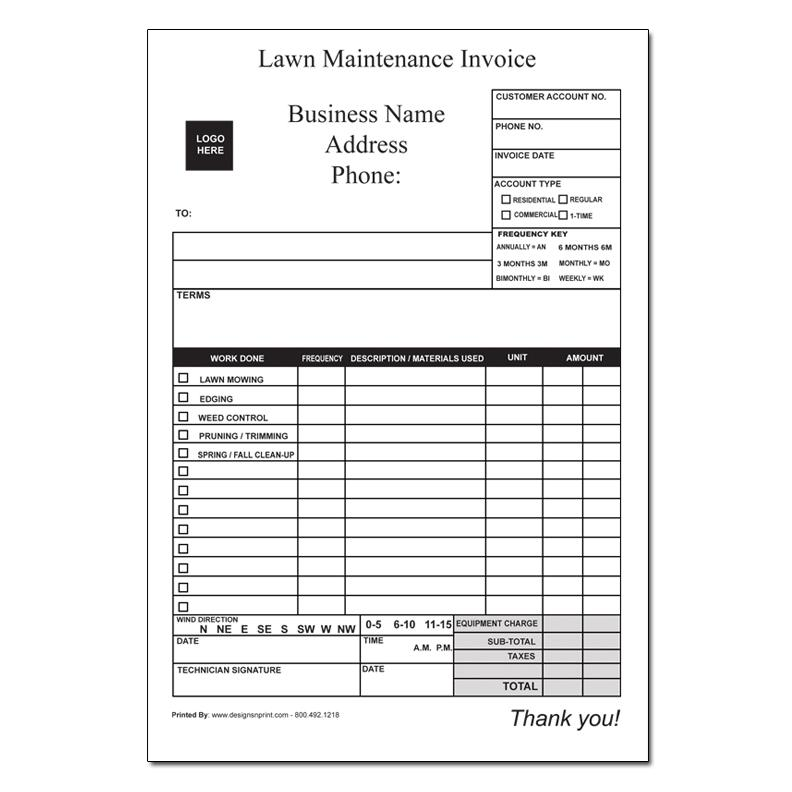 Landscaping Invoice - Work Order DesignsnPrint - how to type up an invoice