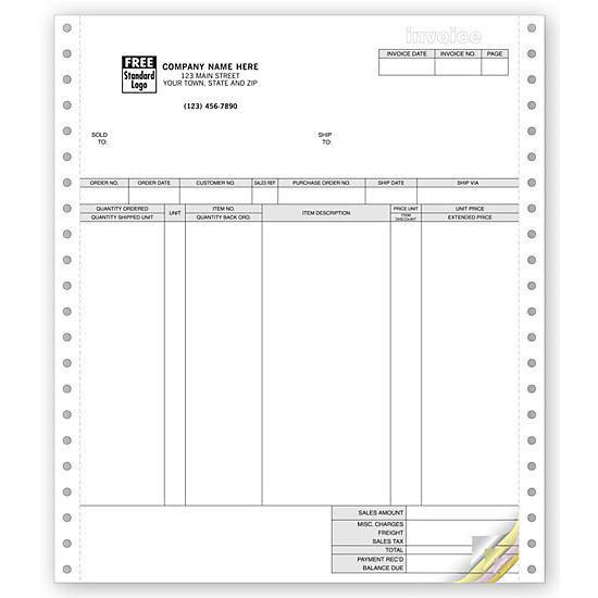 Classic Continuous Computer Invoice Forms DesignsnPrint