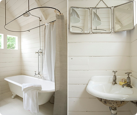Images above two beautiful bathrooms from the melbourne home of lynda