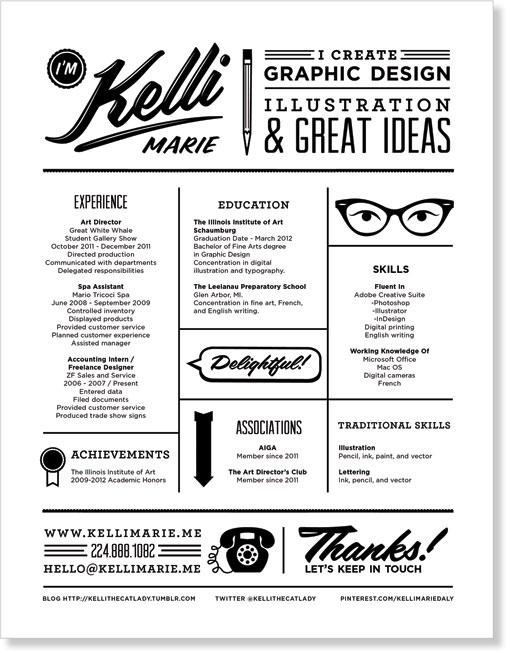 Kelli Marie Personal Stationery Design Work Life - graphic design student resume