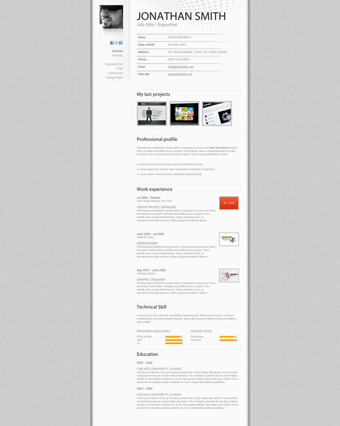 A Few Interesting Resume\/CV Website Designs - resume website design