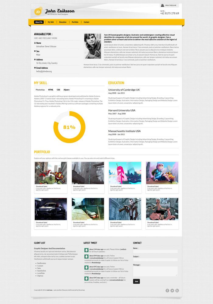 A Few Interesting Resume/CV Website Designs - web resume