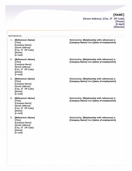 reference list template for resume standard job reference page resume reference page example