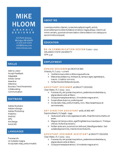 89 Best yet Free Resume Templates for Word - one sheet template word