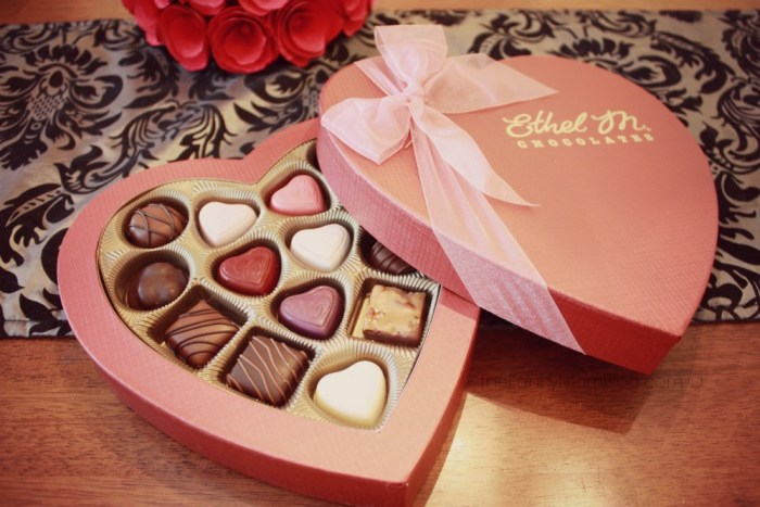 Ethel M chocolates in heart shaped box perfect for valentines day