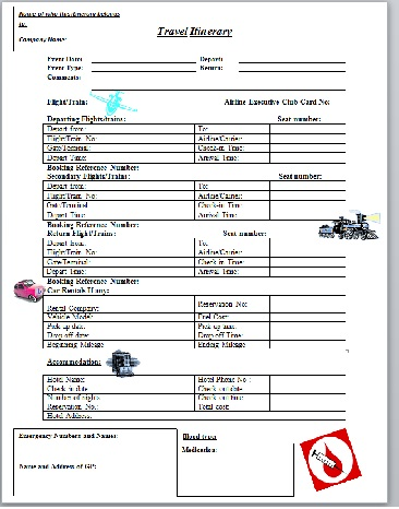 Travel Itinerary - Business Templates - Executive PA and Secretarial - business itinerary template