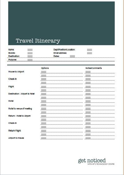 flight itinerary template - business itinerary template