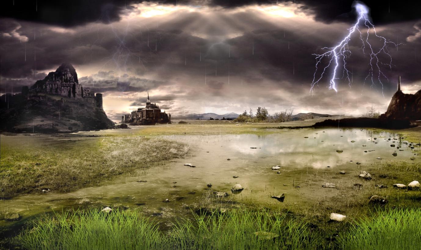 Anime Rain Wallpaper Download Thunderstorm Field Animated Wallpaper