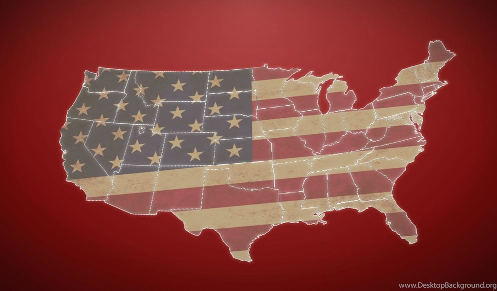 Separated United States Map With US Flag, Red Background Stock
