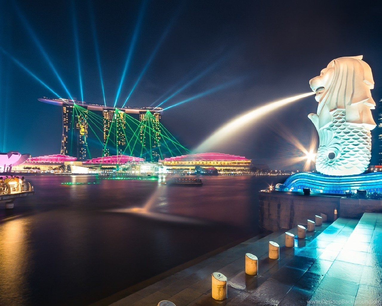Download Wallpaper Hd For Android Mobile High Resolution Singapore Merlion At Night Wallpapers Full