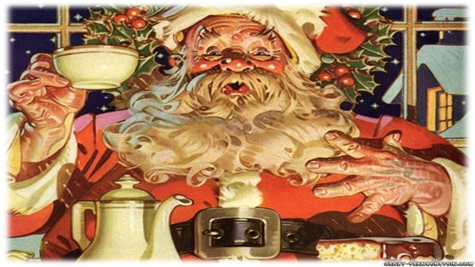 Free Ipod Wallpapers Hd Christmas Santa Claus Wallpapers Old Retro Card Free