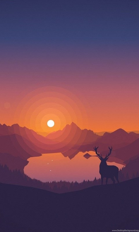 Iphone X Wallpaper Color Deer Overlooking A Lake At Sunset Wallpapers Wppshack