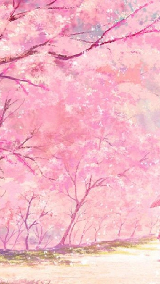 Iphone X Wallpaper Download Hd Anime Pink Tree Couple Kimono Wallpapers Desktop Background