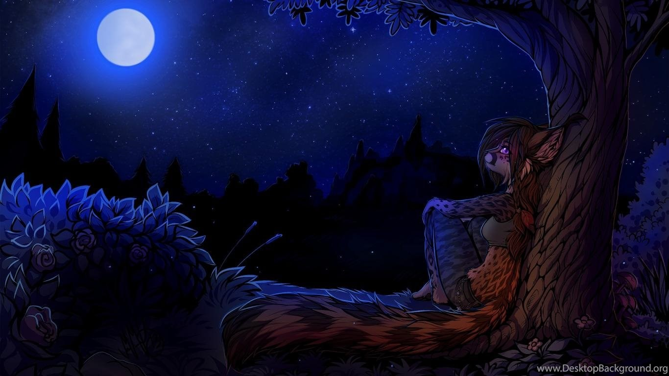 Girl And Boy Wallpaper Free Download Trees Night Brown Roses Anthropomorphism Furry Wallpapers