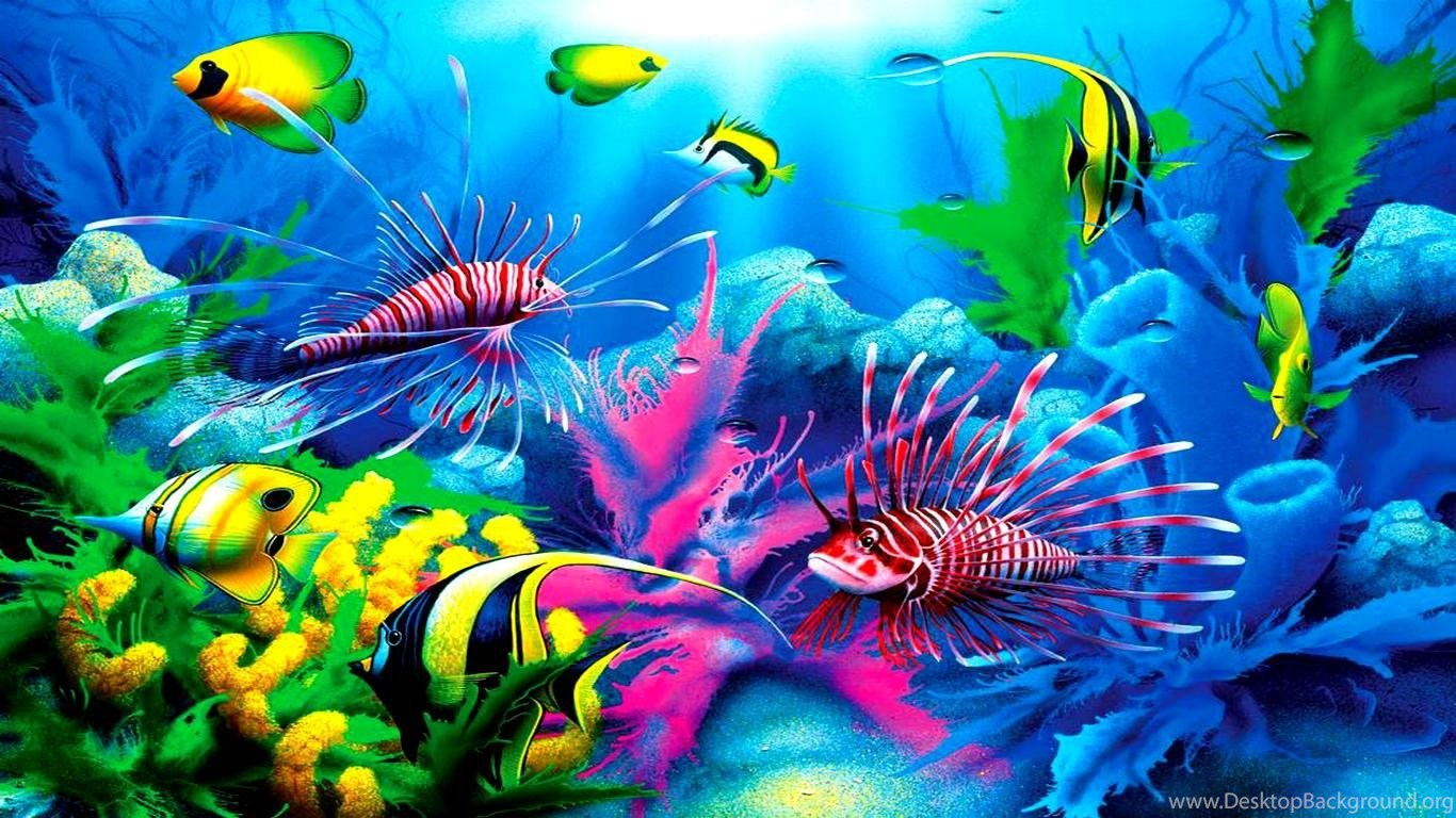 Animated Fish Wallpaper Mobile Fish Tropical Lionfish Ocen Fish Plants Coral Free