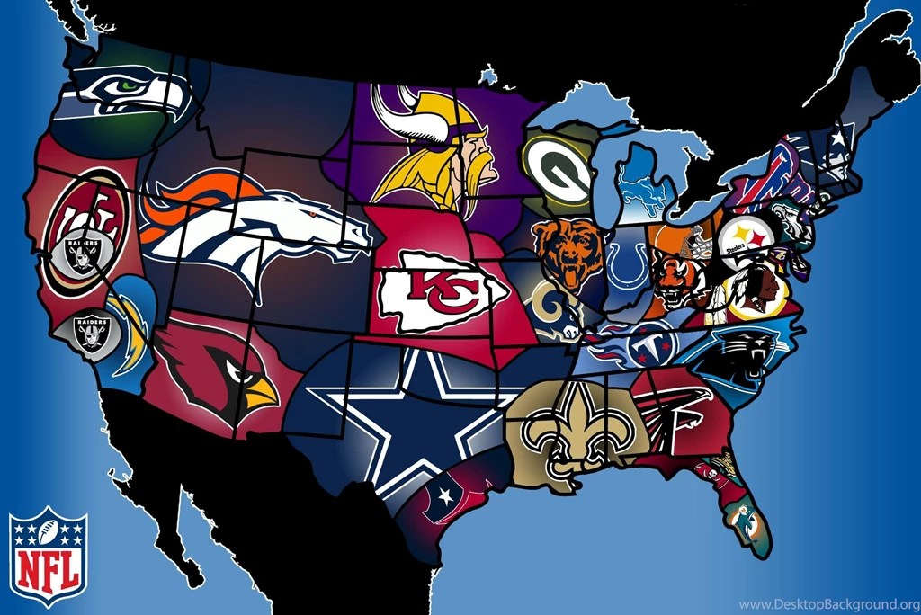 United States Map With NFL Teams For Each States Desktop Background