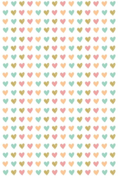 Ditsy Hearts Pink Gold Teal Coral Iphone Wallpapers Phone ... Desktop Background