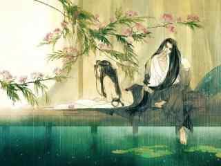 Anime Art Wallpaper Girl 唯美白衣古风美男背影图片 桌面天下(desktx Com)