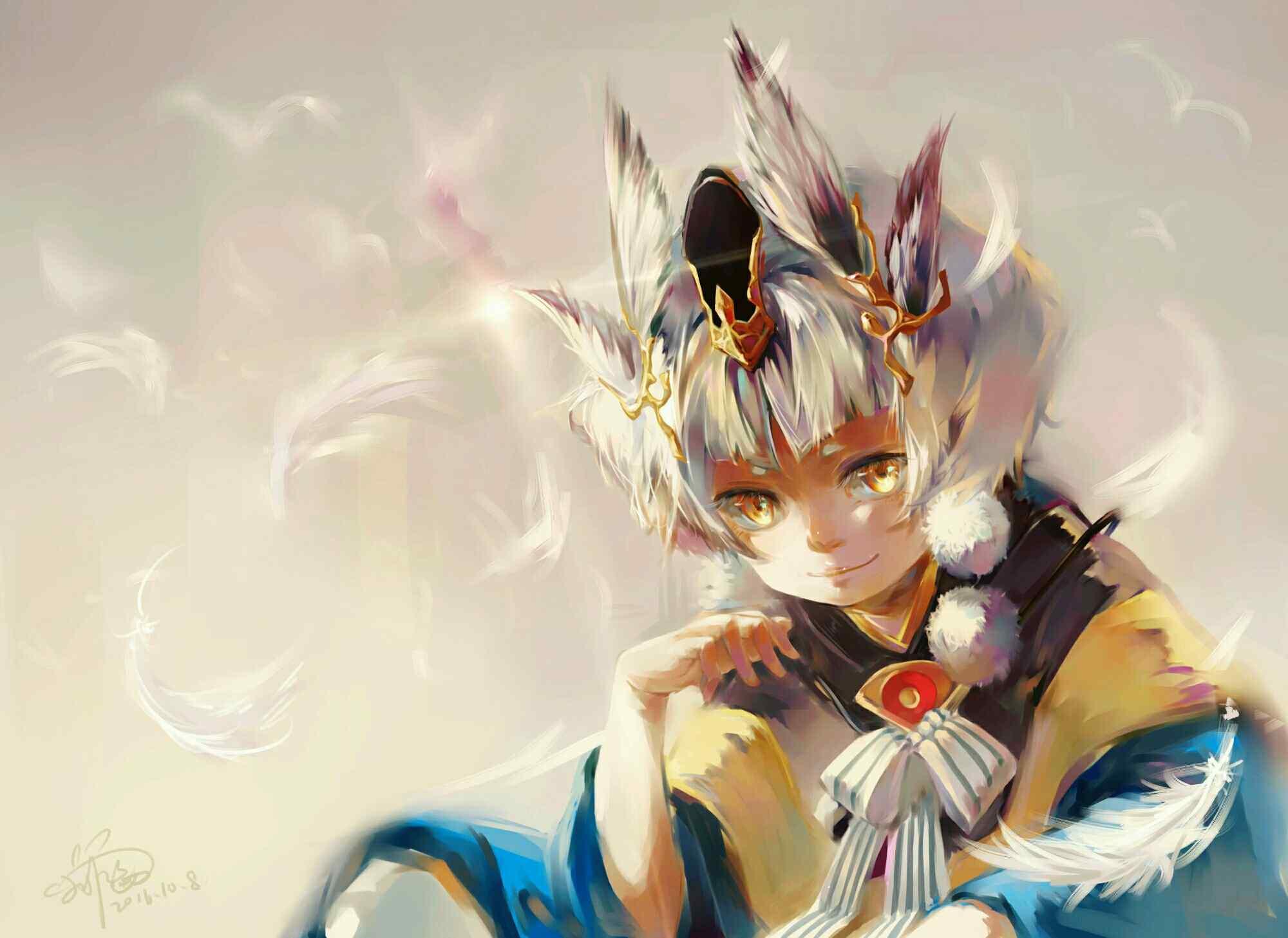 Win8 3d Wallpaper 阴阳师手游游戏壁纸之可爱的童男式神 桌面天下(desktx Com)