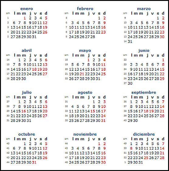 Calendario chile 2014 con feriados