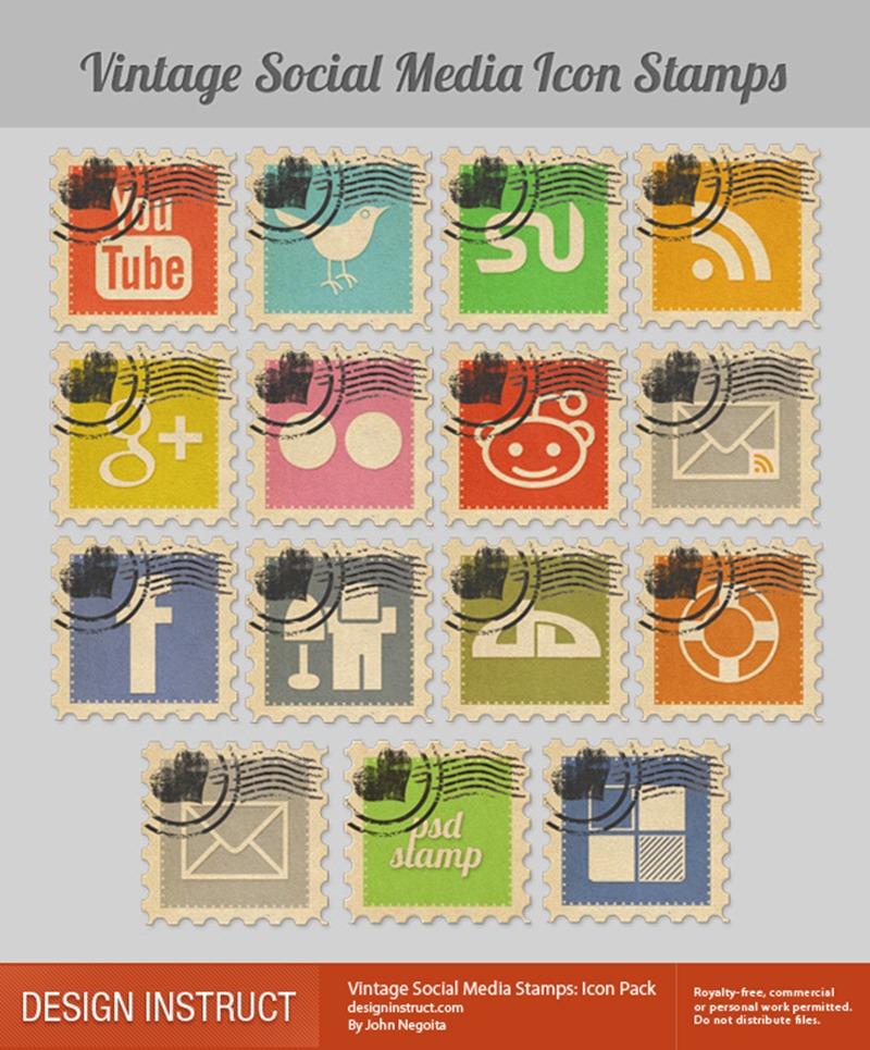 Vintage Social Media Stamp - Icon Pack
