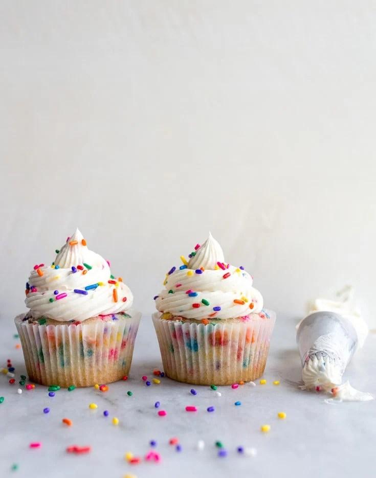 Birthday Cake Cupcakes with Sprinkles (small batch recipe) Dessert