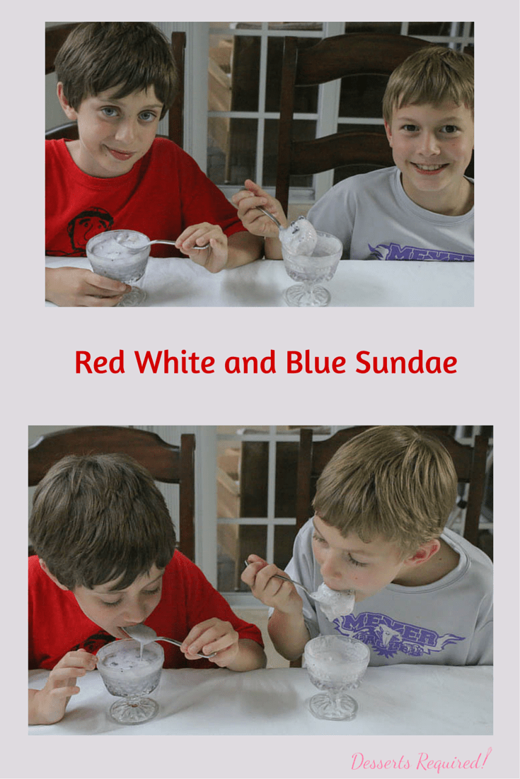 Desserts Required's Red White and Blue Sundae is bursting with flavors from the cooked blueberries and fresh strawberries or raspberries. The kids love it, too!