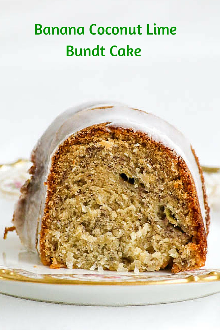 Banana Coconut Lime Bundt Cake is a super easy recipe to put together and gorgeous enough to be on a holiday table. #SundaySupper