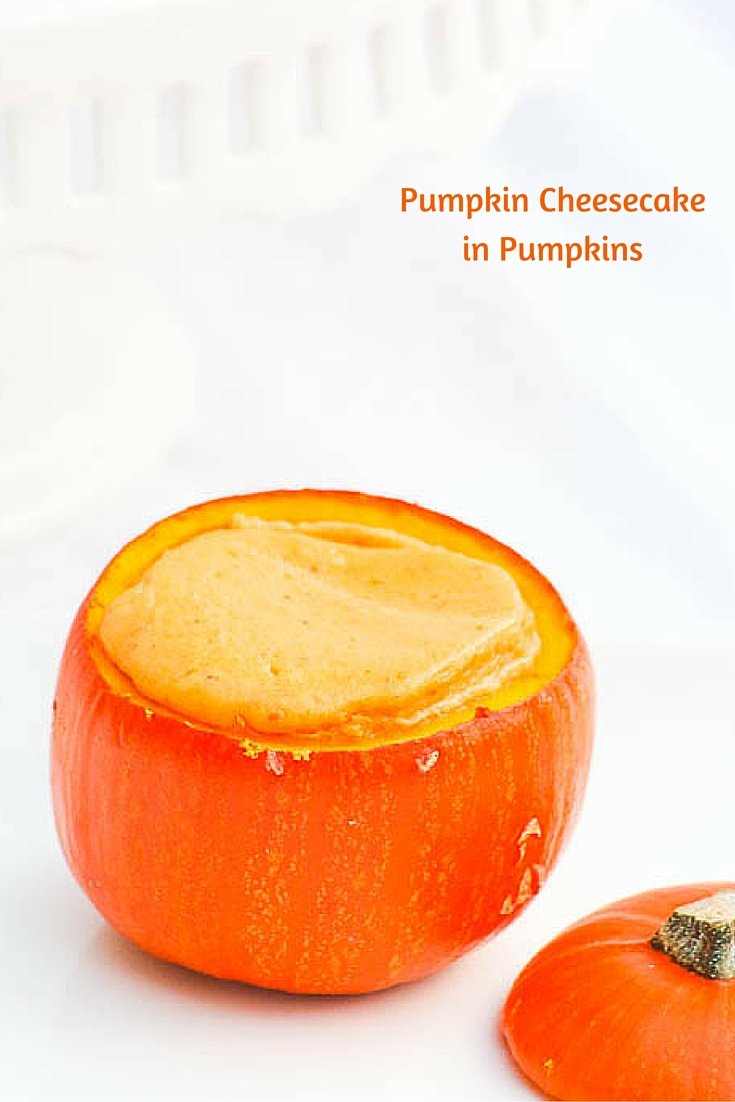 Pumpkin Cheesecake in Pumpkins are decadent and gorgeous! Decorate the outsides for Halloween or serve them as they are for an elegant Thanksgiving dessert. #SundaySupper