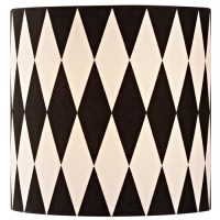 Black / White Drum Lamp Shade with Uno Assembly   SH9489 ...