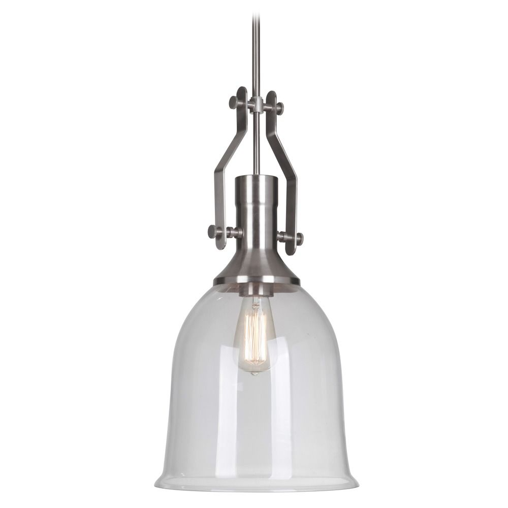 Farmhouse Industrial Pendant Light Brushed Nickel by