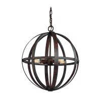 Small Orb Pendant Light in Weathered Iron Finish - 4 ...