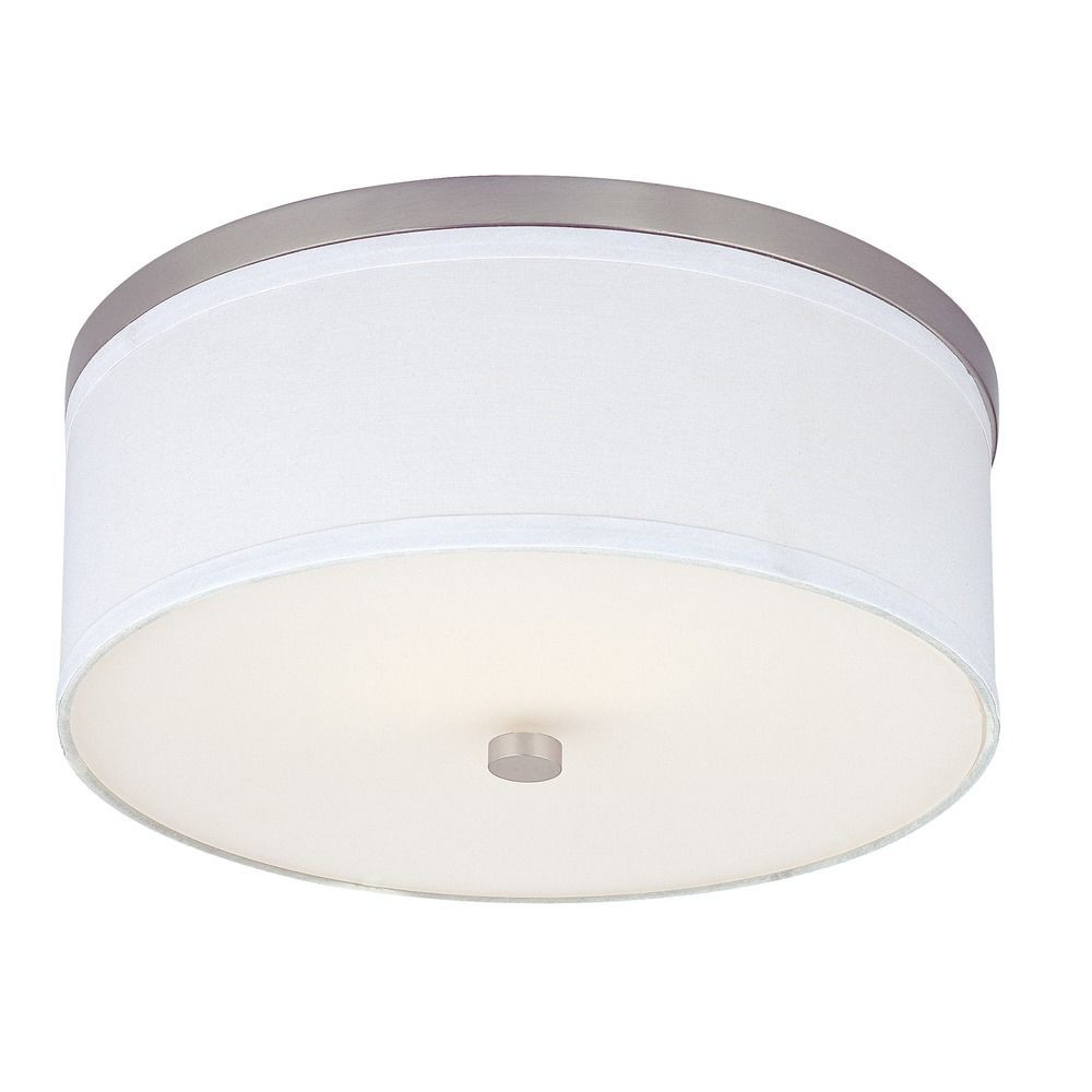 Flushmount Ceiling Light with White Drum Shade