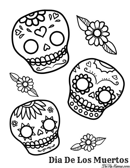 Mexican day of the dead art and free printables for Simple sugar skull coloring pages